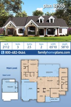 Country House Plans 82555 has 2112 Sq Ft 3 Beds 2 5 Baths 2 Car Garage and Deep Covered Porch Country House Plans 82555 has 2112 Sq Ft 3 Beds 2 5 Baths 2 Car Garage and Deep Covered Porch Family nbsp hellip Craftsman House Plans, Country House Plans, New House Plans, Dream House Plans, Modern House Plans, Small House Plans, House Floor Plans, Ranch, Facade Design