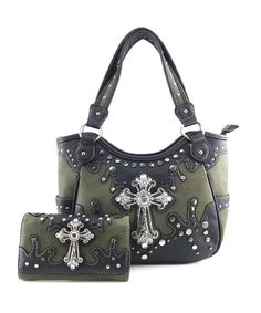 Women's Bags, Totes, Washed PU Leather Shoulder Handbag Stud Rhinestone Cross Concealed Carry - Olive Tote and Wallet - Shoulder Handbags, Shoulder Bags, Concealed Carry, Womens Purses, Balenciaga City Bag, Bag Sale, Women's Bags, Pu Leather, Fashion Accessories