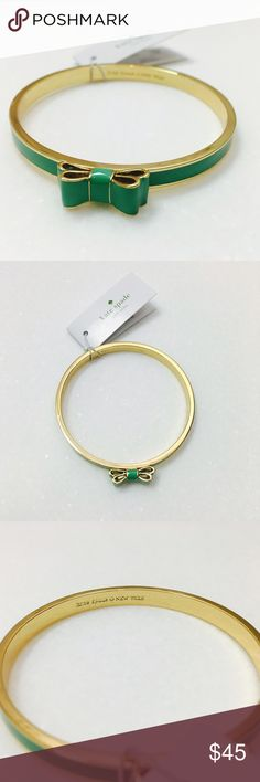 kate spade New York Bow Bangle. NWT gold and turquoise ish (more green than blue) bow bracelet from kate spade New York. kate spade Jewelry Bracelets