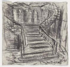 Leon Kossoff Midland Hotel Staircase, 2005 charcoal on paper 21 x 22 in. x 58 cm) Leon Kossoff, Midland Hotel, Mouth Drawing, Gcse Art, The 5th Of November, New Art, Sketches, Landscape