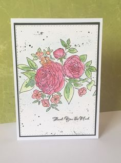 Watercoloured wplus9 beautiful bouquets: ranunculus stamp set.  Made by Rachel…