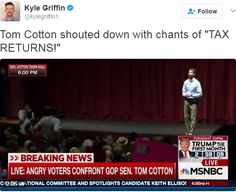 Some Republican members of Congress are starting to come around on the issue of Trump's tax returns. The 1040s may be pertinent to Capitol Hill's investigations into Russia's hacking of the 2016 presidential election. (Arkansas Sen Tom Cotton constituents call for Trump tax returns via Kyle Griffin Twitter post Feb 22 2017)