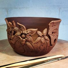 Earth Wool & Fire unfired Floral Yarn Bowl.