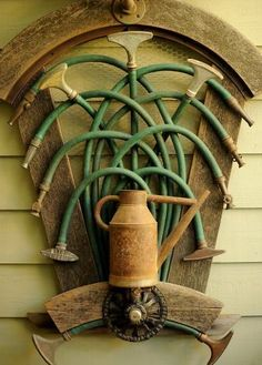 A sculpture of garden tools decorates the main entrance to Freeland Tanner's Napa, Calif., home on Saturday, Oct. 27, 2012. Photo: Noah Berger, Special To The Chronicle
