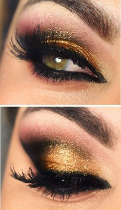 Strong bright gold, black, and pink colours