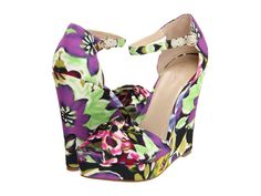 purple green shoes with floral wedges