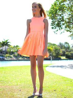 orange skater dress