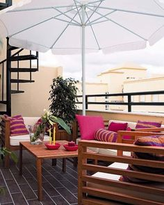 Balcony screening privacy protection umbrella wooden outdoor furniture