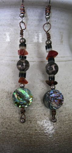 Abalone/Agate/Silver Earrings 61401e by antipasto on Etsy, $29.75
