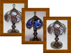 Sensational blue dragon on black glass. This Unique Glass Panel Small Touch Lamp has a Red dragon with lighting bolt in the background. A final touch turns your lamp off. Touch Table Lamps, Touch Lamp, Table Lamps For Bedroom, Bedroom Decor, Medieval Bedroom, Dragons, Dragon Glass, Medieval Gothic, Nightstand Lamp