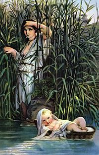 Miriam hid her baby brother Moses by the side of a river to evade the Pharaoh's order that newborn Hebrew boys be killed. She watched as the Pharaoh's daughter discovered the infant and decided to adopt him. Miriam then suggested that the princess take on a nurse for the child, and suggested Yocheved; as a result, Moses was raised to be familiar with his background as a Hebrew.  Miriam was a prophetess who sung a brief victory song after Pharaoh's army was drowned in the Red Sea.