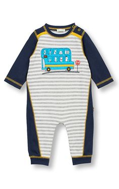 LeTop A Dog's Life Stripe Coverall Dogs on the Bus. Infant sizes