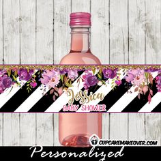 Elegant floral themed party water bottle labels featuring beautiful pink lavender purple garden flowers, branches and green leaves against a black and white