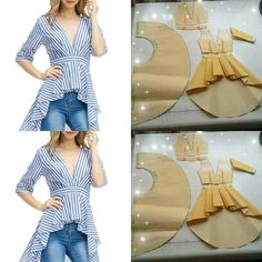top with skirt tail pattern - SalvabraniImage may contain: stripesTip for sewing ruffles on a top - Salvabrani New Ideas for skirt pattern sewing crafts diy fashion ideas which look fabulous. Sewing Dress, Sewing Ruffles, Dress Sewing Patterns, Diy Dress, Blouse Patterns, Clothing Patterns, Blouse Designs, Pattern Sewing, Skirt Patterns