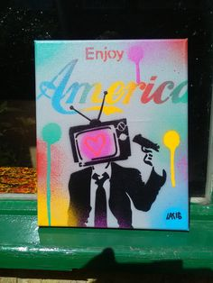 Enjoy America stencil art painting,canvas,love,television,guns,graffiti,politics,rainbow,street art,suit,spray paint art,pop art,design,grey by AbstractGraffitiShop on Etsy