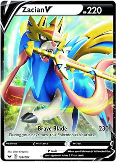 Zacian V - Pokemon Pokemon Go, All Pokemon Cards, Pokemon Cards Legendary, Pokemon Eeveelutions, Pokemon Trading Card, Pokemon Games, Cute Pokemon, Pikachu, Pokemon Fusion