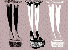 """Our collaboration with Pretty Polly has sparked an obsession with printed tights!! We came across this artist, Kendra Dandy, who creates the most adorable illustrations of ladies in tights.Kendra says her work is """"a mix of a dark, glamorous fairy tale [and] a never ending mad tea party""""…Now that's our kind of party!! Be sure to click through to see our faves!!"""