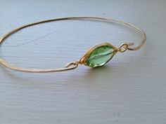 Gold peridot glass cuff bangle hand hammered by LaLecheVitrine, $8.00