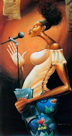 Frank Morrison ~ The Urban Jazz Black Love Art, Black Girl Art, Art Girl, African American Artwork, African Art, Frank Morrison Art, Black Artwork, Afro Art, Art Music
