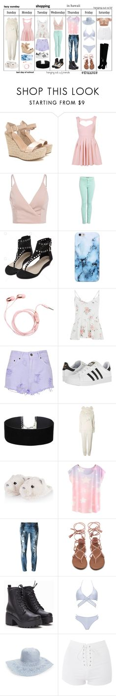 """""""outfits!"""" by pandaderpienes ❤ liked on Polyvore featuring J Brand, The Ragged Priest, adidas, Miss Selfridge, Dorothy Perkins, Philipp Plein, WithChic, Hinge and Topshop"""