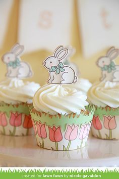 Lawn Fawn Eggstra Special Easter Cupcake Wraps by Nicole Gavaldon.
