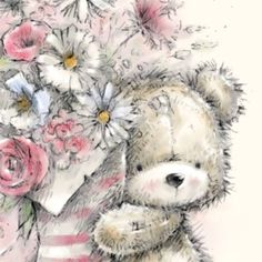 Beautiful Flowers Pictures, Flower Pictures, Hello Wallpaper, Teddy Beer, Bear Illustration, Cute Teddy Bears, Tatty Teddy, Bear Art, Kawaii Drawings