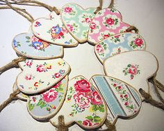 Chic Wooden Hanging Hearts - Cath Kidston Decoupage Provence, Rose, Flower | eBay