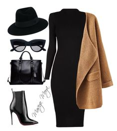 A fashion look from June 2016 featuring Christian Louboutin ankle booties und Maison Michel hats. Browse and shop related looks. Classy Outfits, Stylish Outfits, Fall Outfits, Fashion Outfits, Womens Fashion, Outfit Winter, Mode Chic, Mode Style, Funeral Attire