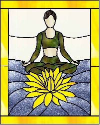 Stained Glass Pattern :: Lotus Yoga Pose Padmasana stained glass pattern