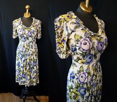 Darling 1940's lavender and yellow floral print by wearitagain, $148.00