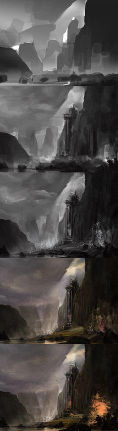 New landscape concept art tutorial posts ideas Landscape Concept, Fantasy Landscape, Landscape Art, Landscape Paintings, Digital Painting Tutorials, Digital Art Tutorial, Art Tutorials, Painting Process, Process Art