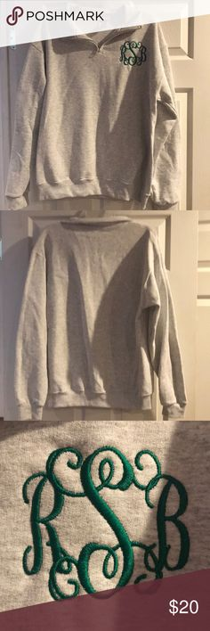 quarter zip pullover Heather gray quarter zip pullover with monogrammed initials RSB.  Ordered this offline and was sent the wrong initials 😞.  New without tags. Tops Sweatshirts & Hoodies