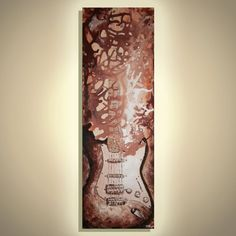 Guitar painting, Music studio decor, Modern Music Art, Gift for guys, Guitar wall art, Strat Guitar, Original Painting on canvas by Magier