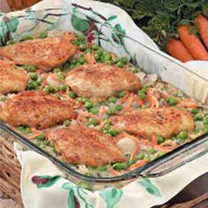 Wild Rice Chicken Bake:  6 servings; 314 calories, 5 g fat per serving;  Diabetic Exchanges: 3 lean meat, 2 starch, 1 vegetable