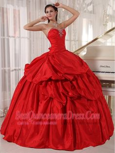 Inexpensive Red Sweet 16 Dress Strapless Tulle Lace Appliques Ball ...
