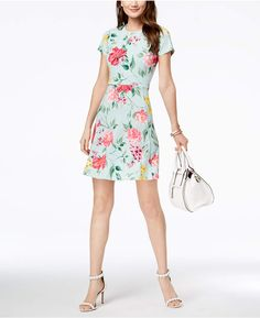 fb96553cff Floral-Print Fit  amp  Flare Dress  refreshes Jessica Howard Petite Dresses