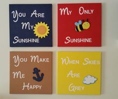 Check out this item in my Etsy shop https://www.etsy.com/listing/272429854/you-are-my-sunshine-canvas-wall-art-four