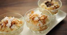 Découvrez cette recette de Riz au lait de coco et au chocolat blanc pour 4 personnes, vous adorerez! Cold Meals, No Bake Cake, White Chocolate, Mousse, Mashed Potatoes, Cereal, Dessert Recipes, Pudding, Baking