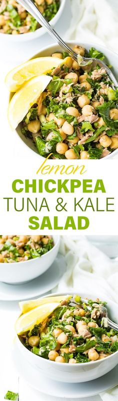 This healthy and easy to make protein-packed salad is filled with tuna and chickpeas, crunchy kale, and tangy lemon.