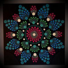 30 x 30 cm. Dot Art Painting, Acrylic Painting Canvas, Painted Rocks, Hand Painted, Mandala Rocks, Rock Art, Etsy Seller, Dots, Creative