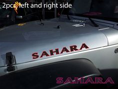 "2pcs(Pair) of 2-color SAHARA 25"" Hood Vinyl Sticker Decal Graphic JEEP WRANGLER #Oracal"