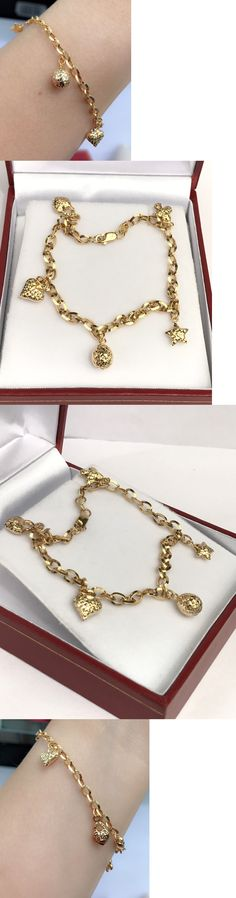 Precious Metal without Stones 164313: 18K Solid Yellow Gold Cute Mix Charms Italy Bracelet, 7.25 Inches, 3.53 Grams -> BUY IT NOW ONLY: $189.05 on eBay!