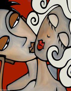 Uno dos tres-Original Abstracto Pintura Arte Moderno Estampada por fidostudio