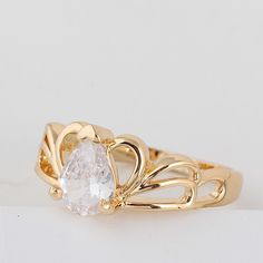 Chic 18K Gold Plated Queen Crown Shape Copper Ring Inlay White Shiny Zircon Two Sizes