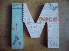 letra M M Letter, Letter A Crafts, Diy And Crafts, Crafts For Kids, Arts And Crafts, Baby Bedroom Ideas Neutral, Wood Letters, Decoupage, Book Art