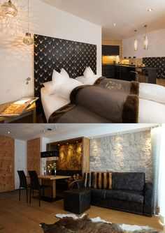 Exclusive and luxurious apartments in the alpinlodge & spa in Samnaun Switzerland in the Ski Resort Silvretta Arena. Luxury and panoramic views Spa Bedroom, Luxury Spa, Apartment Design, Contemporary Design, Living Room Designs, Couch, Architecture, Wood, Furniture