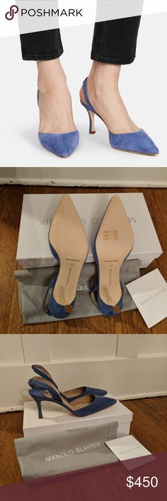 Manolo Blahnik Carolyne Slingback Pump Blue Suede Beautiful and brand new with box and dust bag. 2.5 inch heel. Totally love these but they dont fit my post baby feet Manolo Blahnik Shoes Heels