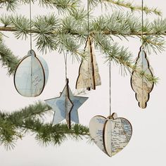 Set Of Five Vintage Map Christmas Decorations