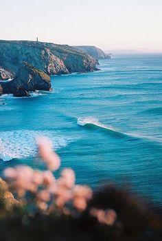 Sea cliffs, Cornwall, England...