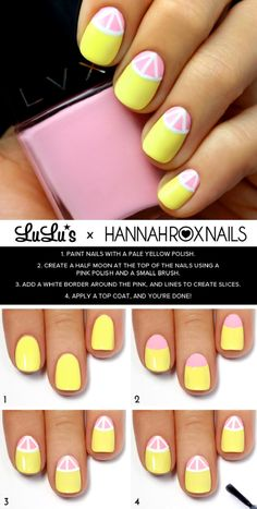 Yellow and Pink Grapefruit Nail Tutorial - 11 Vibrant Nail Art Tutorials that Scream Summer | GleamItUp